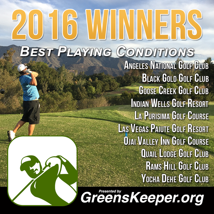 Greenskeeper.Org Awards Best Playing Conditions for 2016