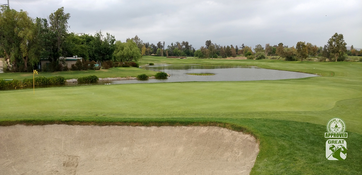 Goose Creek Golf Club Mira Loma California GK Review Guru Visit - Looking back on Hole 18 from Green